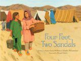 Middle East - Four Feet, Two Sandals  Based on co-author Khadra Mohammed's experiences with refugees in Peshawar, a city on the Afghanistan-Pakistan border, Four Feet, Two Sandals is a children's picturebook about ten-year-old Lina and her young friend who each discover one of a wonderful pair of sandals. Together they must solve the problem of how to share one pair of sandles between four feet!