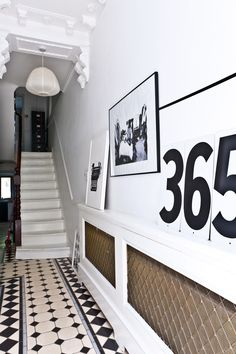 The House With the Pink Door // Karine Kong Pink Door, Modern Interior Design, Interior And Exterior, Black And White Hallway, Black White, Turbulence Deco, Entry Hallway, Hallway Art, Entryway