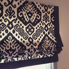 Roman shade with mitered border Nate Berkus fabric by BGCW