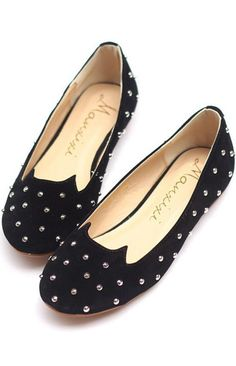 Black Solid Studded Round Toe Ballet flats