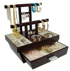 Modern Design Jewellery Box With Earring Stand