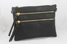 Leather Crossbody Double Zipper Purse