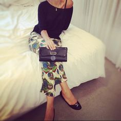 .@fashion_glance | Wearing today #marni #pants for #hm #black #top #christianlouboutin #bag #clu... | Webstagram - the best Instagram viewer