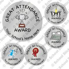 Silver Great Attendance Reward Stickers- 700 for $37.95, w/ Old Mill Reward Stickers, Attendance, Working Area, Decorative Plates, School, Silver, Money