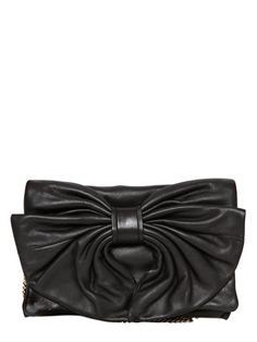 RED VALENTINO - NAPPA LEATHER BOW CLUTCH - LUISAVIAROMA - LUXURY SHOPPING WORLDWIDE SHIPPING - FLORENCE