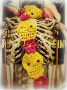 Yellow with Hot Pink Flowers Cute Crochet Skull Scarf