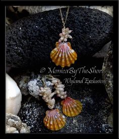 Rare Tahitian Arutua Seashells and Hawaiian Sunrise Shell Gold Earrings with Matching Necklace Set! Exclusive design for Wyland Gallery Beachwalk, Waikiki, Honolulu Hawaii.