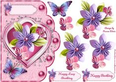 Origami Flowers Leap Day Scallop Card in Pink and Decoupage on Craftsuprint designed by Karen Adair - This is an A5 sized card front with a lovely scallop edge, and features beautiful Origami styled flowers on a heart shaped shield, a stunning butterfly and pearl embellishments. Designed with leap year birthdays in mind, one of the two pretty matching sentiment panels is worded for this occasion, anf one for a general birthday. If you like this check out my other designs, just click on my…