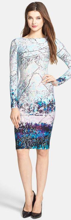 BCBG MAXAZRIA 'Voletta' Winter Print Jersey Body-Con Dress