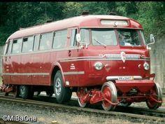 Red railbus.