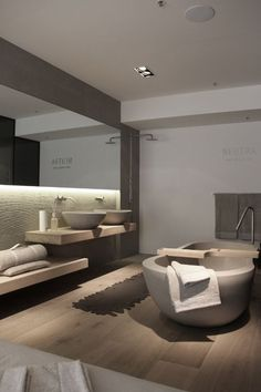 Pure Sydney for Neutra Natural Greys & Wood Modern Minimalist Bathroom Contemporary Design #inspiration #nakedstyle