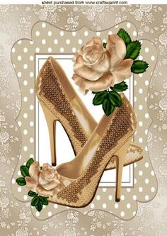 PRETTY GOLD SPARKLE SHOES WITH RAINBOW ROSE A4 on Craftsuprint - Add To Basket!