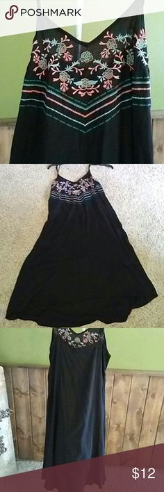 "Boutique flowy dress Black flowy dress front is detailed with embroidering in blue green and coral has adjustable straps is approximately 28""long in front 33"" in back kori Dresses High Low"