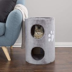 This Cat Condo with scratching surface is covered with soft plush fabric and provides comfortable places for your cats to rest and play. The attractive condo provides 2 spacious, covered, hiding pl Cat Tree Condo, Cat Condo, Outdoor Cat Run, Kids Bean Bags, Sisal Rope, Pet Furniture, Scratching Post, Cat Supplies, Plush
