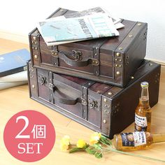 ヴィンテージボックストランクボックス収納箱トランク型ケース Suitcase, Decorative Boxes, Creative, Outdoor Decor, Home Decor, Japan, Space, Products, Floor Space
