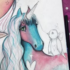Close up of unicorn. :)  #workinprogress #unicornlove #mixedmediaart #mixedmedia #willowing #willowingarts