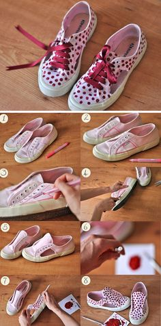 Breathe Life Into Old Sneakers  with Paint & Shoe Laces | 23 Life Hacks Every Girl Should Know | Easy Organization Ideas for Bedrooms