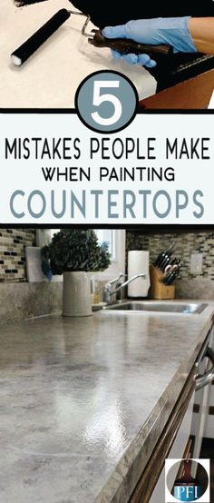 Diy Furniture If you are thinking of painting countertops in the future, learn from other DIYers mistakes. Get a beautiful new countertop now! -Read More – Painting Countertops, Diy Countertops, Countertop Makeover, Painting Laminate Cabinets, Countertop Transformations, Home Improvement Projects, Home Projects, Home Renovation, Home Remodeling