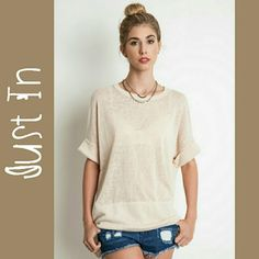 Tan Cuffed Top A beautiful cuffed crew neck tee Tops