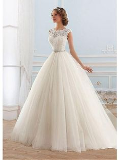 Affordable Ball Gown Jewel Neckline Lace and Tulle Wedding Dresses 99504001