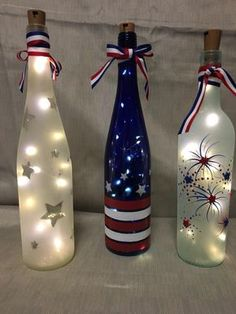 icu ~ Pin on DIY and crafts ~ Your stockpile of empty wine bottles is steadily growing? Then now is a good time as any to transform them into something pretty with these wine bottle crafts with lights. Empty Wine Bottles, Wine Bottle Art, Painted Wine Bottles, Lighted Wine Bottles, Diy Bottle, Bottle Lights, Decorative Wine Bottles, Wine Glass, Decorated Bottles