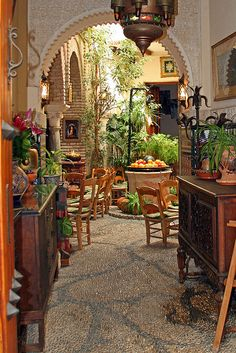Beautiful courtyard on the streets of Cordoba, Spain