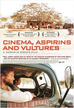 CINEMA, ASPIRINS AND VULTURES (Portuguese: Cinema, Aspirinas e Urubus) is a 2005 Brazilian film directed by Marcelo Gomes. In 1942, the lonely German Johann travels through the arid roads in the country of the Northeast of Brazil in his truck selling aspirins in small villages. He meets the drifter Ranulpho, who intends to go to Rio seeking a better life, and gives him a ride. They develop a close friendship, but on 31 August 1942, Brazil declares war on Germany and Johann faces a…