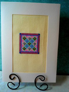 Pink Quilt Block Cross Stitch Card by theelegantstitchery on Etsy, $15.00
