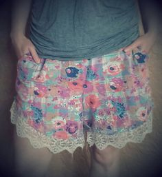 Check out this item in my Etsy shop https://www.etsy.com/listing/234799142/upcycled-womens-shorts-romantic-floral