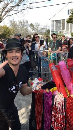 Ian Somerhalder with fans at MardiPaws Parade in NOLA serving as MardiPaws Gran Monarch, Sunday,  February 14, 2016