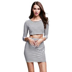 9d30fde717b51 Fashionable Round Collar Long Sleeve Crop Top + Elastic Short Skirt Stripe  Print Bodycon Suit for Women