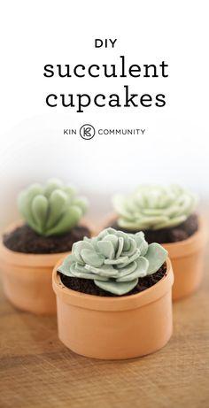 DIY Succulent Cupcakes  //  Click for video tutorial