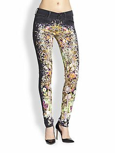 So #wild - #MOTHER The Looker Floral Skinny Jeans in #Wild Flowers