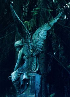 ☫ Angelic ☫ winged cemetery angels and zen statuary - Cemetery Angels, Cemetery Statues, Cemetery Art, Highgate Cemetery, Angels Among Us, Angels And Demons, Statue Ange, Sculpture Art, Sculptures