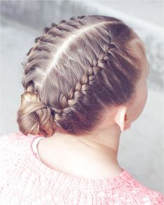 Double French into a braided bun. I did this on dry hair and used spray wax to help the hair stay put. Link in bio to the wax I used. It's a little pricey, but it lasts SO long and works so well! Sporty Hairstyles, Braided Ponytail Hairstyles, Dance Hairstyles, My Hairstyle, School Hairstyles, Everyday Hairstyles, Gymnastics Hairstyles, Wedding Hairstyles, Pretty Hairstyles