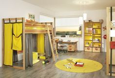 Yellow Double Bunk Beds For Kids