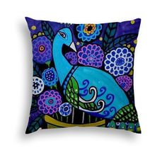 Peacock and Flowers Pillow - - Throw Pillow Bird Folk Art by Heather Galler - 5 sizes to choose from
