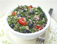 Blueberry, Kale and Quinoa Salad with Fresh Blueberry Vinaigrette