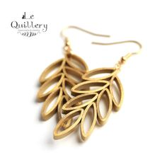 Gold Leaf Branch Earrings - Handmade Paper Quilling Jewelry by LeQuillery