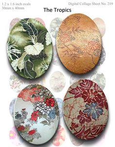 BUY 2 GET 1 FREE - Instant Download - Tropical Florals Printable Collage Sheet - 30mm X 40mm Ovals for pendants, glass tiles, 219