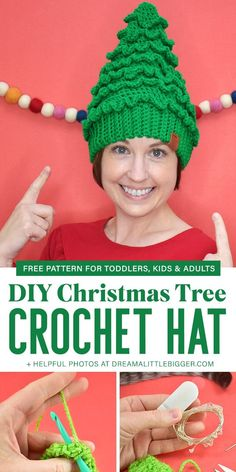 Crochet Christmas Tree Hats Free Pattern Crochet Christmas Tree Hats Free Pattern,Crafts Looking for an adorable crochet hat to keep heads warm and celebrate the Christmas season? Get this adorable, FREE Christmas Tree Hat Crochet Pattern! Easy Crochet Hat, Crochet Tree, Crochet Beanie Pattern, Crochet Motifs, Crochet Gifts, Free Crochet Hat Patterns, Crochet Angels, Crochet Ornaments, Crochet Snowflakes