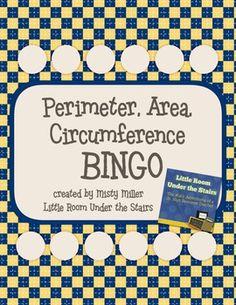 Math Perimeter, Area, Circumference BINGO $