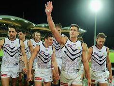 Matthew Pavlich leads his Fremantle Dockers off the ground. First Game, Pittsburgh Steelers, Football, Club, Sports, Soccer, Hs Sports, Futbol, American Football