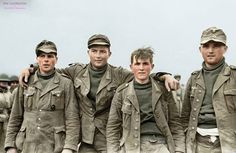 4 (german) soldiers captured by US troops. Tired of war, they are young, the war is over for theses soldiers.