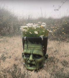 Frankenstein Flowerpots by KatBones on Etsy