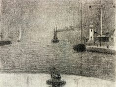 George Seurat, French, Point of Honfleur, Drawing, 23 x 30, 1886