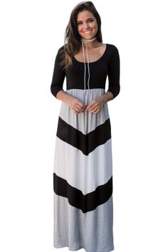c0542367ee0a Black and Gray Chevron Maxi Dress