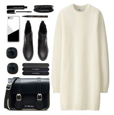 """""""OOTD - White Sweater Dress"""" by by-jwp ❤ liked on Polyvore featuring Uniqlo, Dr. Martens, ABS by Allen Schwartz, Marc Jacobs, Smith & Cult, MAC Cosmetics and Spring Street"""