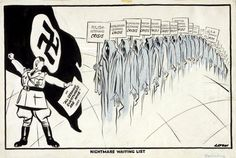 This British cartoon was published in September 1939. It is titled 'Nightmare Waiting List'.