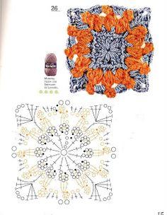 Motif with diagram Crochet Mandala, Crochet Motif, Crochet Designs, Crochet Flowers, Crochet Stitches, Knit Crochet, Crochet Patterns, Crochet Instructions, Crochet Diagram